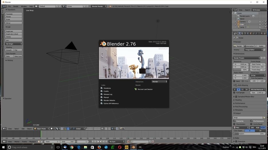 Open-Source-3D-Paket: Blender 2.76 1