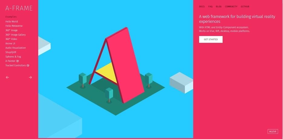 Screenshot von der A-Frame-Website
