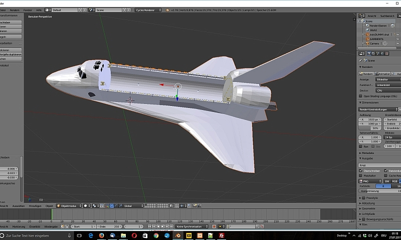 3D Model vom Space Shuttle in Blender