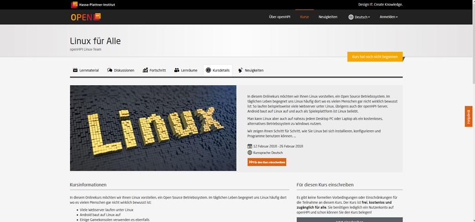 OpenHPI bietet kostenlosen Linux-Online-Kurs