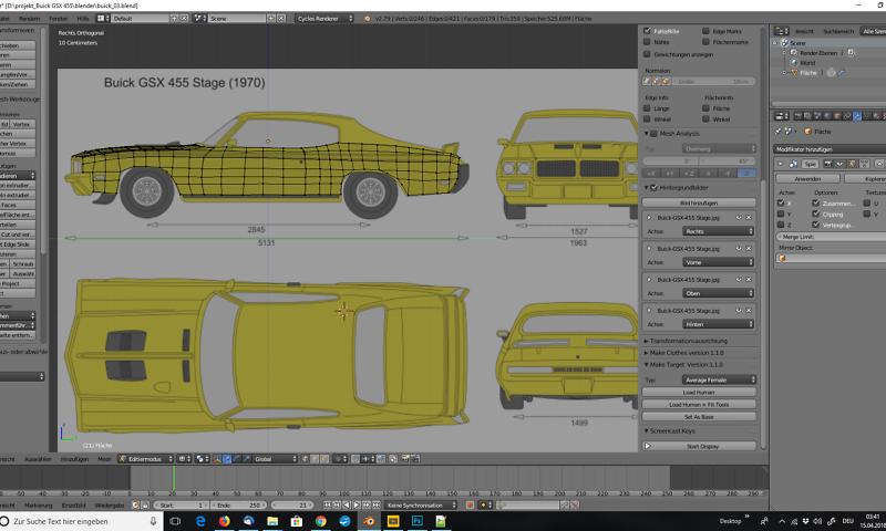 Tag 1: 3D-Modelling von einem Auto nach Blaupausen - Virtual Reality ...