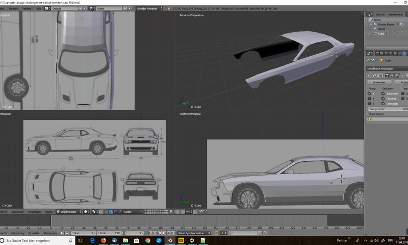 3D-Modelling von einem Auto nach Blaupausen - Virtual Reality ...