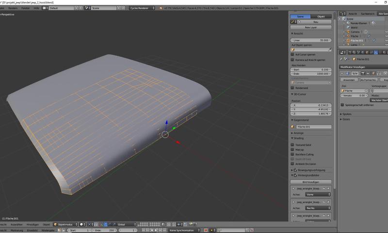 Tag 2: Blender Car Modeling: Motorhaube 1