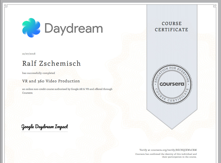 You completed VR and 360 Video Production! 1