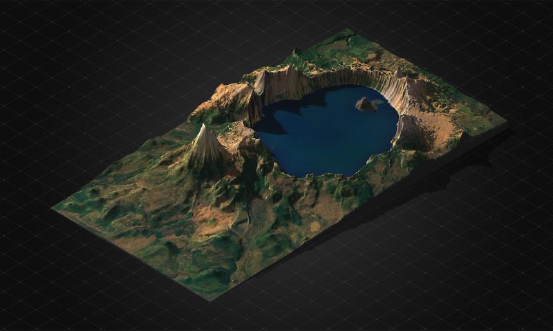 Multicolor 3D-Druck: Vulkan Mount Mazama – 3D Geländekarte