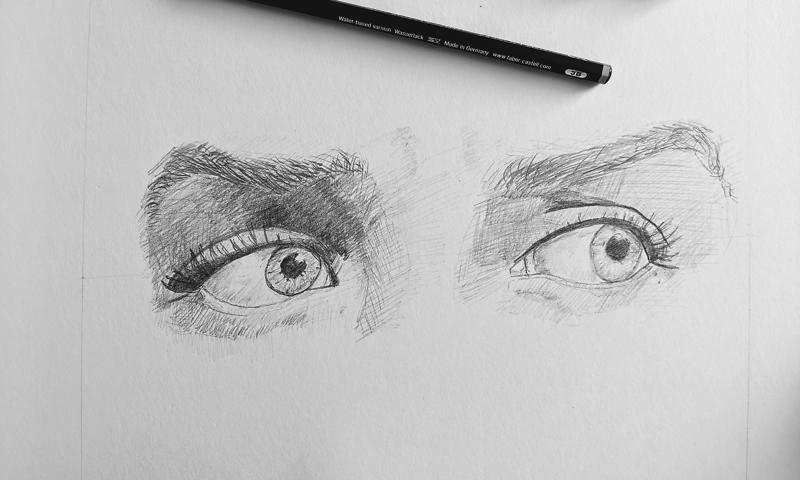 Bleistiftzeichnung: Augen 1
