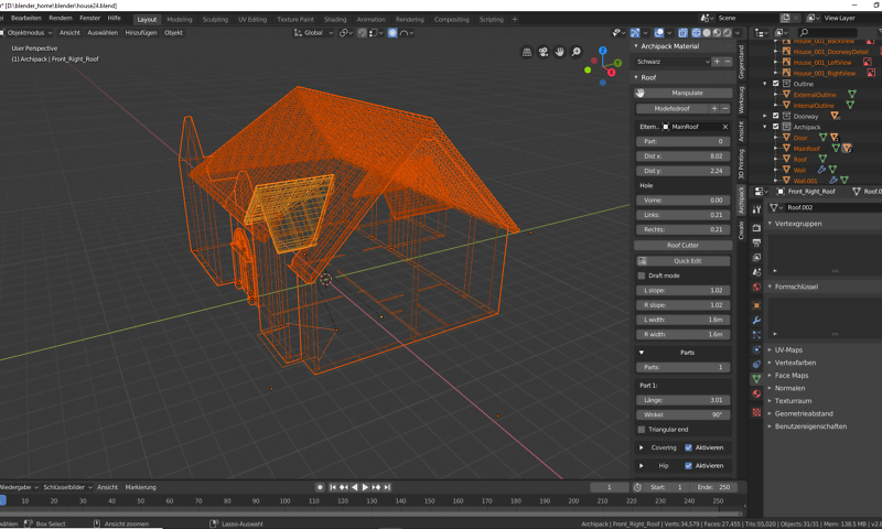 Blender 2.80: Dachkonstruktion