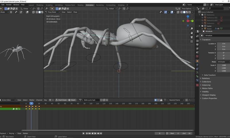 Animation einer Spinne in Blender 4