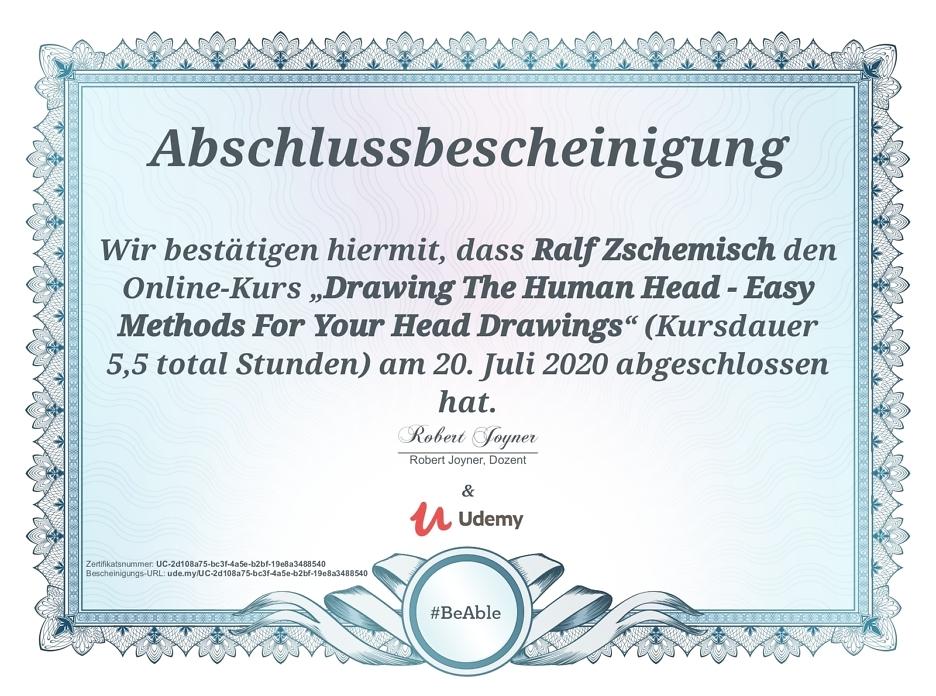 "Meine Abschlussbescheinigung für den Kurs ""Drawing The Human Head - Easy Methods For Your Head Drawings"""