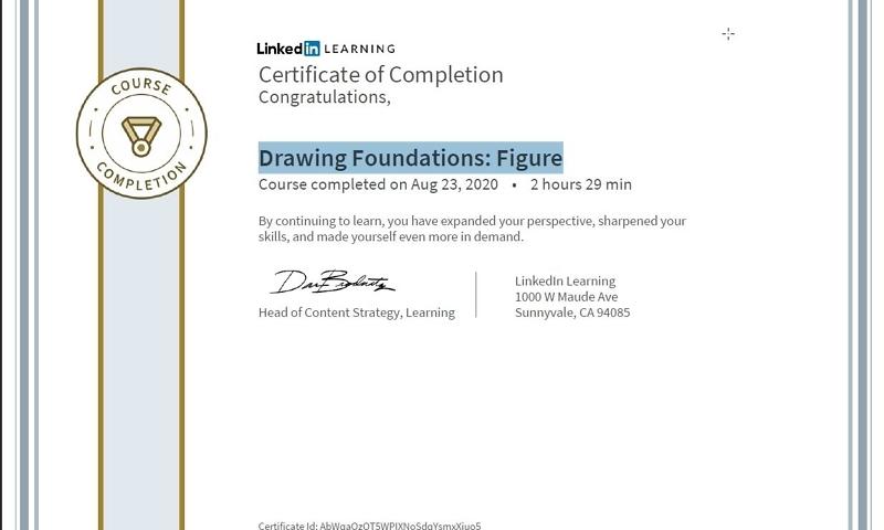 """Meine Abschlussbescheinigung für den Kurs """"Drawing Foundations: Figure"""""""