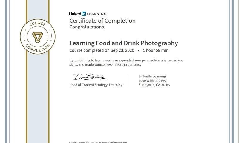 """Meine Abschlussbescheinigung für den Kurs """"Learning Food and Drink Photography"""""""