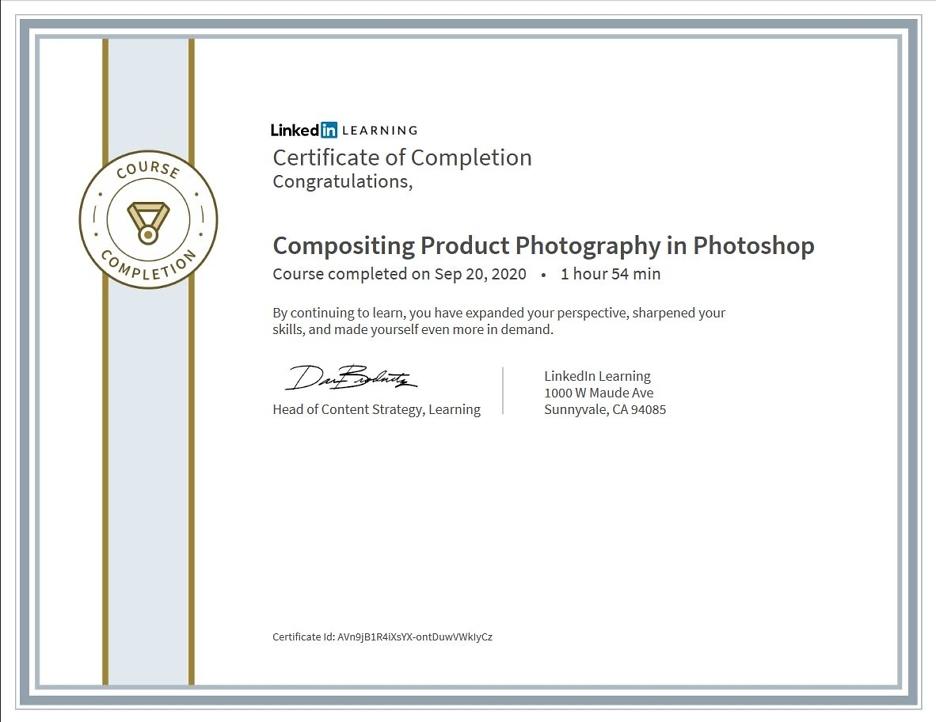 """Meine Abschlussbescheinigung für den Kurs """"Compositing Product Photography in Photoshop"""""""