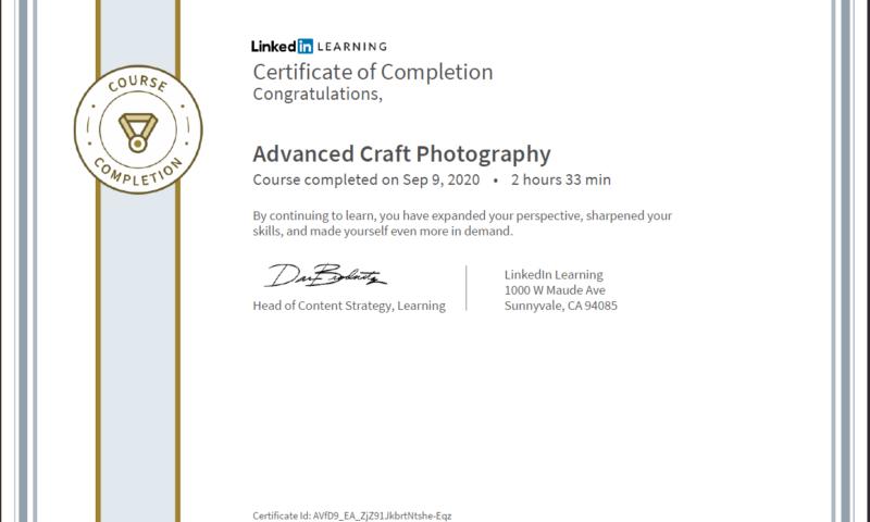 """Meine Abschlussbescheinigung für den Kurs """"Advanced Craft Photography"""""""