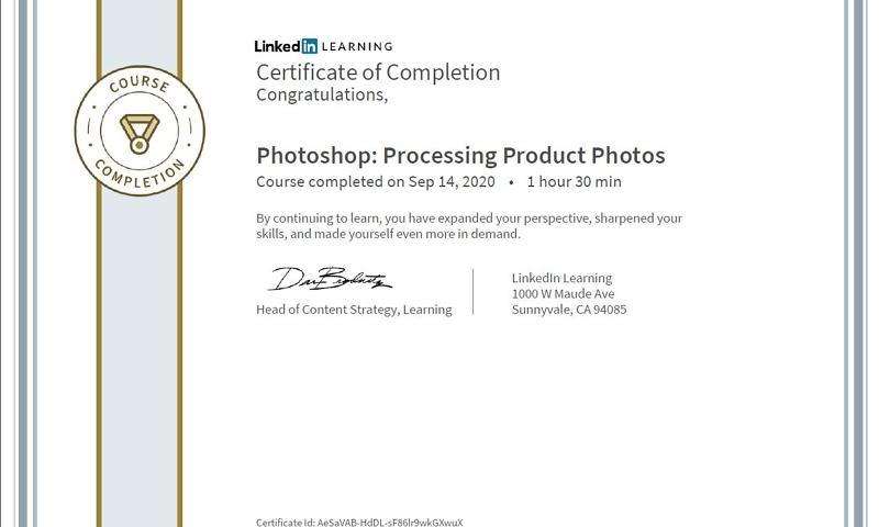 """Meine Abschlussbescheinigung für den Kurs """"Photoshop: Processing Product Photos"""""""