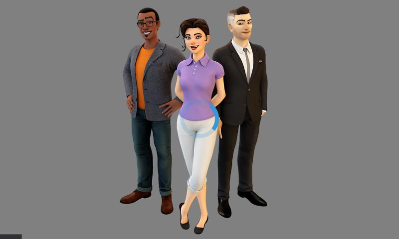 Interaktive animierte 3D-Charaktere, die im Web gerendert werden.