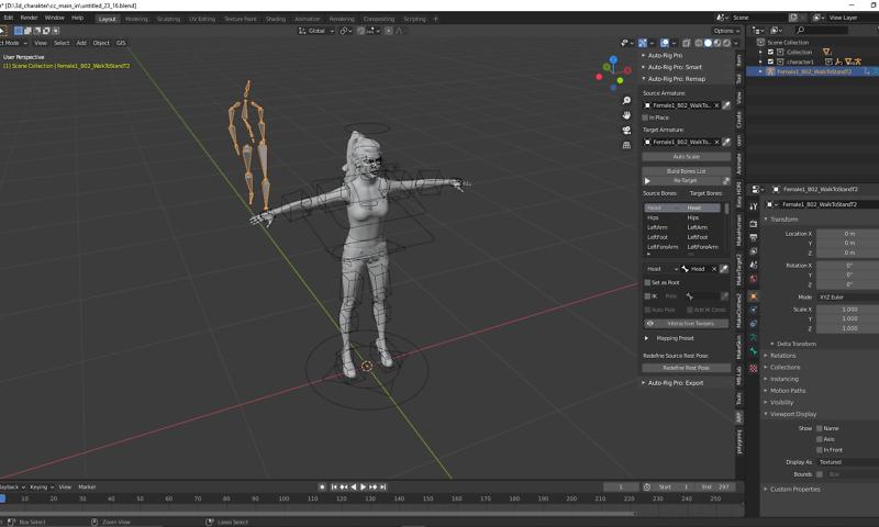 Der 3D-Charakter lernt laufen