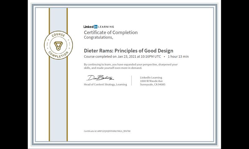 Dieter Rams: Principles of Good Design