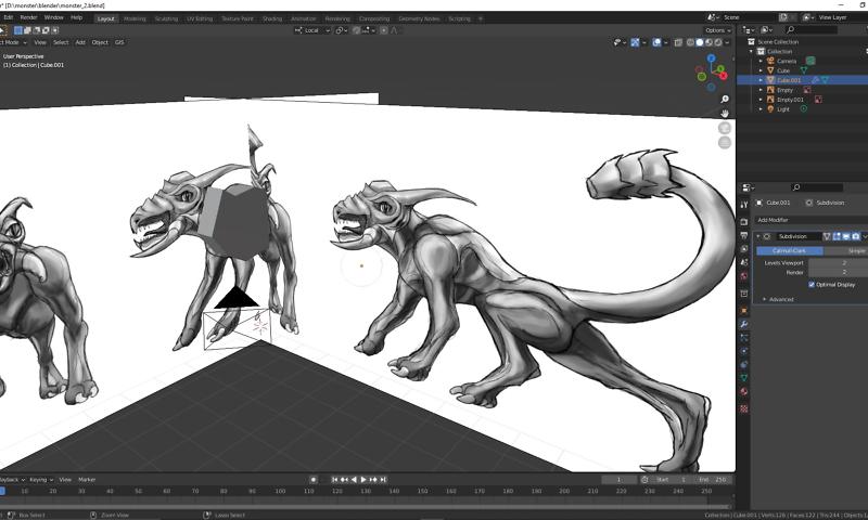 Behemoth - Monster - mächtiges Ungeheuer - Modellierung in Blender